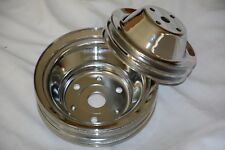 Chrome Chevy 2 & 3 Groove Water Pump + Crankshaft Pulleys SBC LWP crank 350 400
