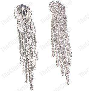 CLIP ON CRYSTAL 7.5cm long multi strand glass rhinestone EARRINGS silver plated