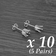 10x Véritable Argent Sterling 6-Griffe Round Snap-Tite Snap-in Earring Setting 6 mm