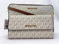 NWT Michael Kors MK Jet Set ITEM Large Saffiano Leather Crossbody Bag Vanilla