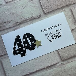 Personalised Handmade Money/Voucher/Gift Card Wallet BIRTHDAY 30 40 50 Any Age