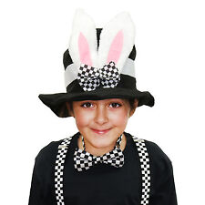 Adults / Kids WORLD BOOK DAY Wonderland Black Bunny Hat, Check Braces & Bow Tie