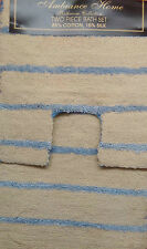 Natural Blue Stripes Cotton / Silk Luxury Pile 2 Piece Bath Sets Mat & Pedestal