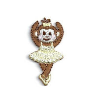 Ballerina - Dance - Monkey - Embroidered Iron On Applique Patch - Yellow