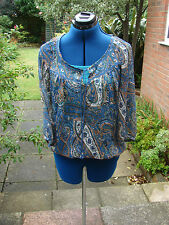 size 12 M&S Indigo pretty peasant style top, blues & greens paisley ladies top