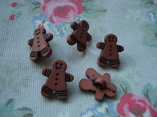 5 Gingerbread Boy Realistic Plastic Buttons