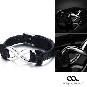 Leder-Armband Damen Endless Unentlichkeit Infinity Rindsleder schwarz Edelstahl