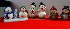 Lot of 3 Sets  Snowman Christmas 1 Pair Salt  & Pepper ShakersVariety Figurines
