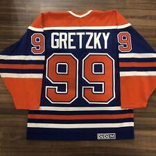CCM Edmonton Oilers Wayne Gretzky NHL Hockey Jersey Vintage Blue Away Medium M