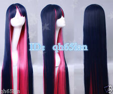 Ladies WIG 100cm Panty Stocking Long Blue Pink Straight Halloween Cosplay Wigs