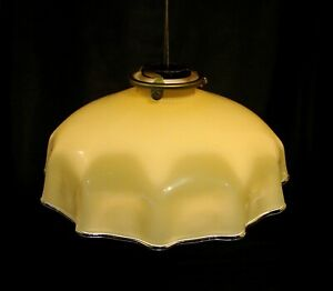 "Vintage German Glass Dark Cream Cased Pendant Lamp & Gallery ""Handkerchief Style"
