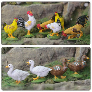 30pcs Model Train Painted O Scale Chicken Duck Goose PVC 1:43 Scale Farm Animals