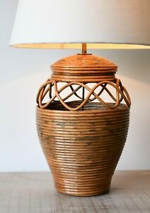 Stylish Soane Britain Style Vintage Rattan Wicker Brass Hall Side Table Lamp