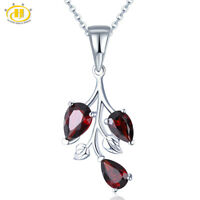 Garnet Pendant Natural Gemstone Solid 925 Sterling Silver Necklace for Women New