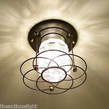 138z Vintage 50s 60s Ceiling Light glass  Fixture Mid-Century retro 1 of 6