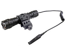 """T6 LED Tactical Flashlight& 1"""" inch Offset Weapon Picatinny Mount& Remote Switch"""