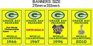 """Green Bay Packers Super Bowl World Champions Banners Lot Embroidered 14"""" x 8.5"""""""