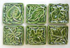 Leaf Mosaic Tiles, Handmade Ceramic Leaf Craft Tiles, Forest Green,  Set of 6