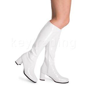 White Gloss Women's Ladies Knee High Disco Platform Standard Eyelet GoGo Boots