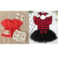 Infant Baby Girls 3Pcs Clothes Plaid Tops Tutu Skirt Shorts Headband Set Outfits