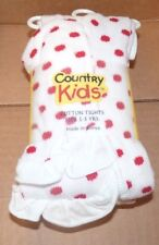 NEW COUNTRY KIDS Cotton Tights Fits 1-3 years White Red Ruffle Dot Girls NWT