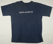 Rare Vintage GUESS Jeans Co. Spell Out T Shirt 90s Marciano USA Navy Blue SZ XL