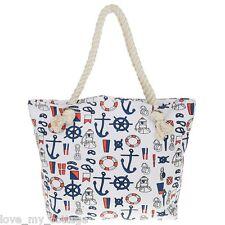 Nautical Canvas Beach Shoulder Bag Summer Tote Holiday Shopper Handbag WHITE Red