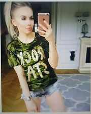 MILITARY SUMMER T-SHIRT CAMOUFLAGE TOP SEQUINS BLOUSE WOMENS LADIES OVERSIZE
