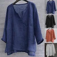 Men Casual Cotton Linen Tops Solid V-Neck Long Sleeve shirt Blouse Plus Size