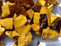 GOLD JASPER Rough Rocks - 2 1/2 LB Lot - TUMBLER, CABBING ROUGH - FREE SHIPPING