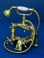 Bath Shower Mixer Taps - deck mounted vintage brass faucets - fully refurbished