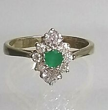 9ct Gold CZ & Green Agate Traditional Cluster Ring Real Gold (not filled/plated)