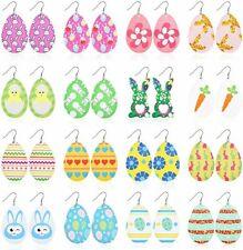 "Faux Leather Teardrop Earrings Lot of 16 Pairs Wholesale Easter Jewelry 3.27"""