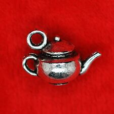 5 x 3D Tibetan Silver Alice Tea Pot Charm Pendants Finding Bead Jewellery Making