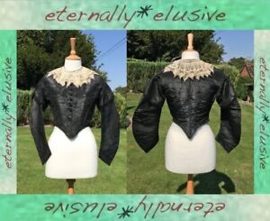 Original Antique Vintage Victorian Mourning Black Silk Bodice Jacket Lace Collar