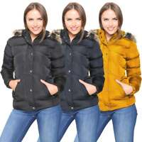 Womens Ladies Designer Fur Hooded Short Jacket Quilted Padded Coat Zip Pockets