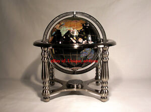 "10"" Tall Black Onyx Ocean Gemstone World Globe with 4 Leg Silver Stand"