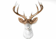 NEW - Large Deer Head - Bronze - Silver Antlers Faux Taxidermy Wall Mount D0910