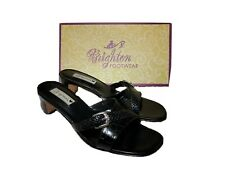 Womens Brighton Tatum Slip on stack heel black leather Croc sandal shoe Braid 10