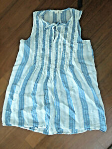 CP SHADES Linen striped blue/offwhite Angel sleeveless tie neck pintuck pleat S