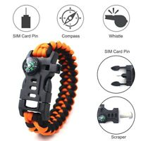 5 in 1 Multifunctional Outdoor compass Survival Weaving Bracelet,Umbrella R X4J9