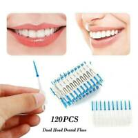 120 Pcs Dual Toothpick Oral Interdental Cleaner Teeth Floss Dental Gum Brush Kit