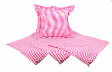 Set of 4 Gingham Flanged Cushion Covers 40x40cm 100% Cotton Pink & White 054756