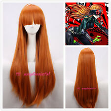 Persona5 Futaba Sakura orange 85cm long straight cosplay wig +a wig cap