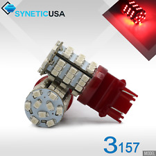 Syneticusa 2x 3157/3457 LED 3528-Chip 54-SMD Red Brake Stop Parking Light Bulbs