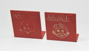 Pair Vintage MAD MAGAZINE Alfred Newman Red Plastic BOOKENDS