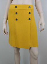 NWT ANN TAYLOR LOFT Wrap Knitted Mini Skirt Buttons Wool Blend Mustard Yellow XS