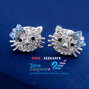 9ct 9k white gold GF stud kitty earrings made with swarovski Chirstmas