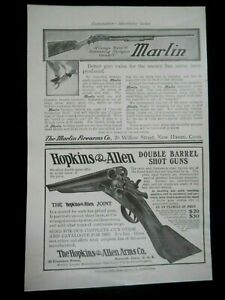 Vintage 1907 Print Ad MARLIN Model 19 Shotgun & Hopkins & Allen Shotgun/Hunting