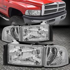 For 94-02 Dodge Ram 1500 2500 3500 Chrome Housing Clear Corner Headlight Lamps (Fits: Dodge)